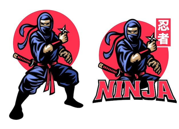 Ninja-maskottchen-set hält die shuriken-sternwaffe