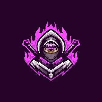 Ninja-meuchelmörderlogomaskottchen-vektorschablone, maskottchenspiellogo, meuchelmörderfrauenlogo