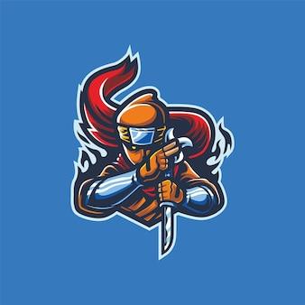 Ninja mit gewehr-esport-logo-maskottchen-vektor