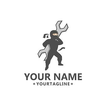 Ninja mit schraubenschlüssel-logo.