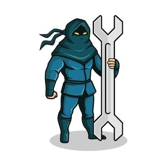 Ninja mit schraubenschlüsselillustration.