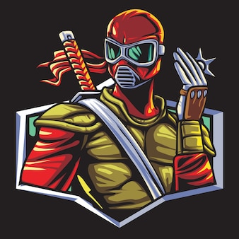 Ninja ranger esport logo illustration