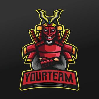 Ninja red samurai mit japanischer maskensportillustration für logo esport gaming team squad