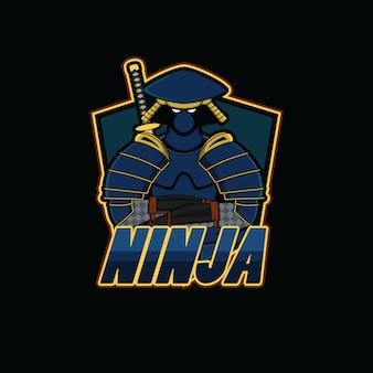 Ninja sportlogo mit schwarzem hintergrund