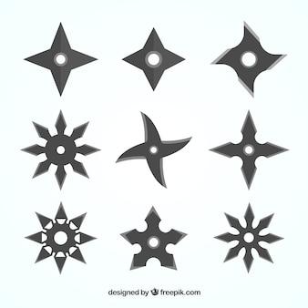 Ninja-star-kollektion mit flachem design