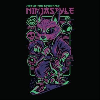 Ninja style savannah cat illustration