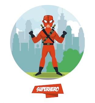 Ninja-superhelden-cartoon auf stadt
