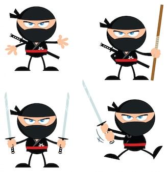 Ninja warrior-zeichentrickfilm-figur mit flachem design der waffen