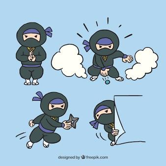 Ninjas charaktersammlung mit verschiedenen posen