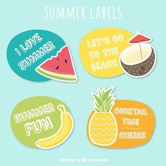Nizza aufkleber mit früchten und sommer nachricht