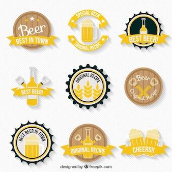 Nizza bier-etiketten mit verschiedenen meldungen