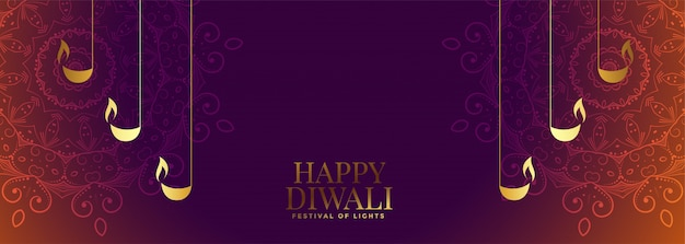 Nizza diwali banner mit schöner dekoration