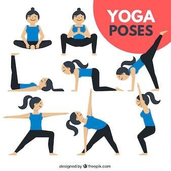 Nizza frau macht yoga-übungen