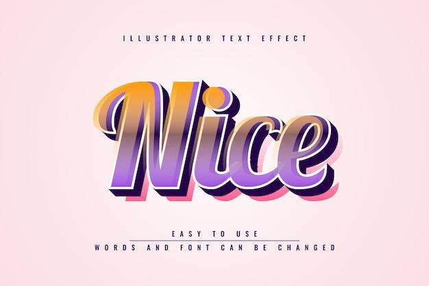 Nizza - illustrator bearbeitbarer 3d-texteffekt