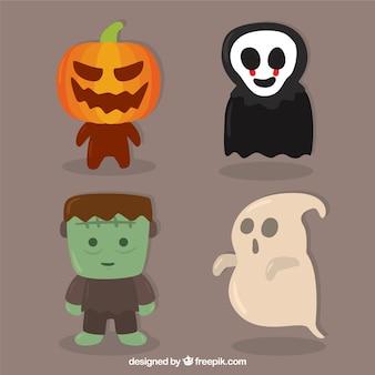 Nizza packung von halloween-zeichen
