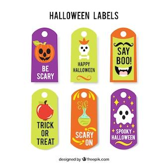 Nizza satz von halloween-etiketten