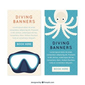 Nizza tauchen banner mit brille und tintenfisch