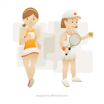 Nizza tennisspieler mädchen und läufer
