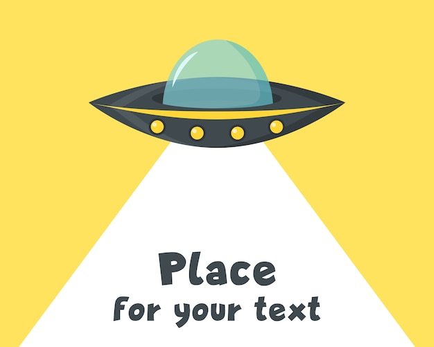 Nlo im hintergrund. ufo fliegendes raumschiff in. außerirdisches raumschiff im cartoon-stil. futuristisches unbekanntes flugobjekt. illustrationsplatz für ihren text. .