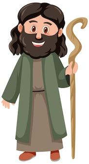 Noah-cartoon-figur isoliert auf weißem hintergrund