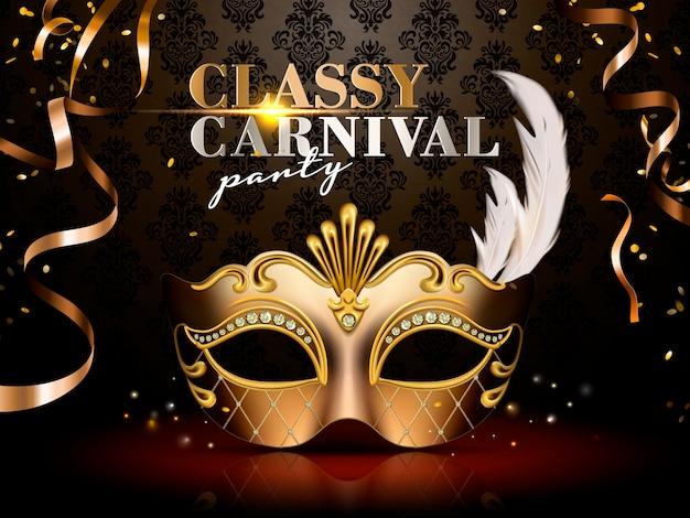 Nobles karnevalspartyplakat, elegante goldene maske mit diamant- und federdekorationen auf dunklem hintergrund in der illustration
