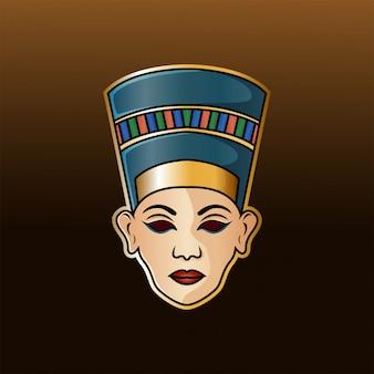 Nofretete kopf esport maskottchen logo