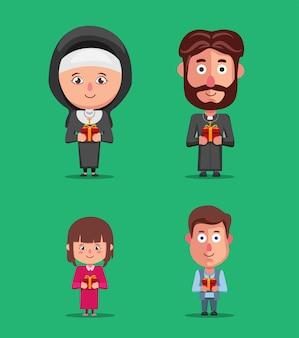 Nonnenpriester und kinderleute auf kirchenfeierweihnachtszeichensatzillustrationsvektor