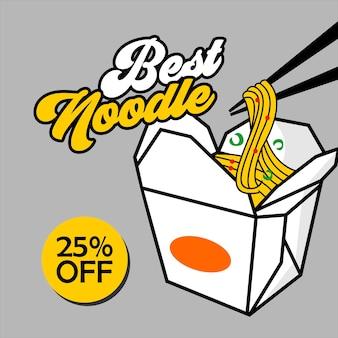 Noodles box poster banner niedlichen cartoon