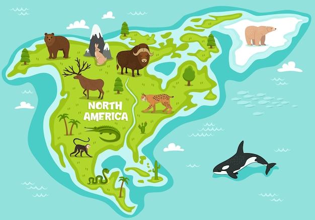 Nordamerikanische karte mit tieren der wild lebenden tiere