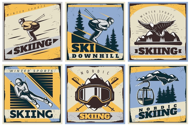 Nordic skiing illustration set