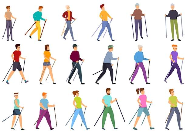Nordic walking icons gesetzt. karikaturensatz der nordischen gehenden ikonen für web