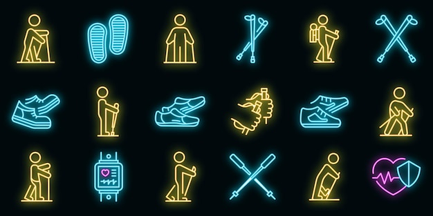 Nordic walking icons set vektor neon
