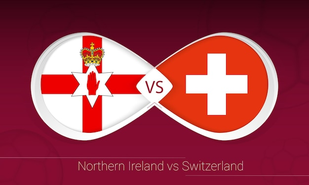 Nordirland gegen die schweiz im fußballwettbewerb, gruppe c. versus-symbol auf fußballhintergrund.