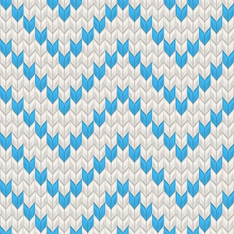 Nordisch gestrickte textur blau auf weißem nahtlosem muster. und beinhaltet auch