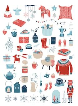 Nordische, skandinavische winterelemente und hygge-konzept, frohe weihnachtskarte, fahne, hintergrund, handgezeichnete s