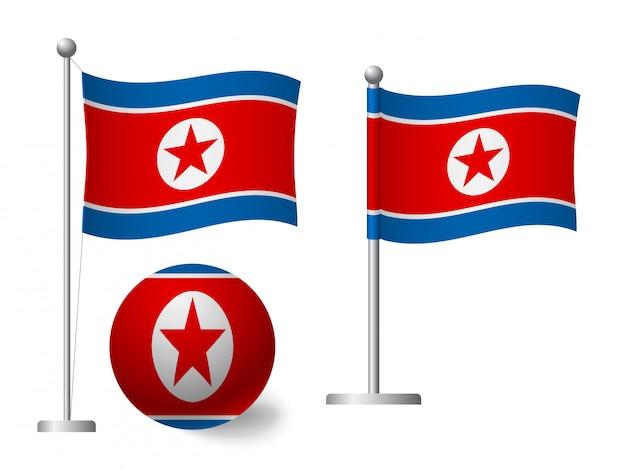 Nordkorea flagge auf pole und ball symbol