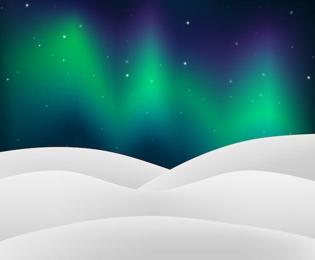 Nordlicht mit snowy-szene
