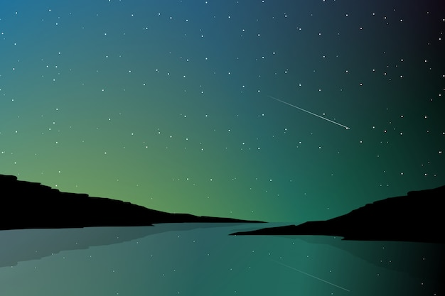 Nordlichtlandschaft und schattenbildgebirgshintergrund