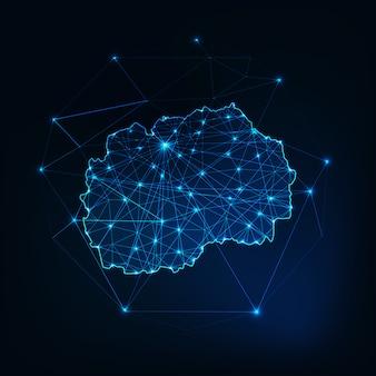 Nordmakedonien karte leuchtende silhouette der sterne linien punkte dreiecke, niedrige polygonale formen gemacht.