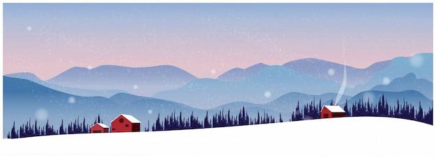 Nordnaturwinterlandschaftshintergrund mit berg.