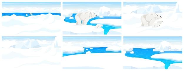 Nordpol wildtier flach. arktische landschaft. schneepanoramaszene. weißer erwachsener bär, der mit jungen auf winterhügeln geht. eisbergkanten. meeressäugetier-karikatur