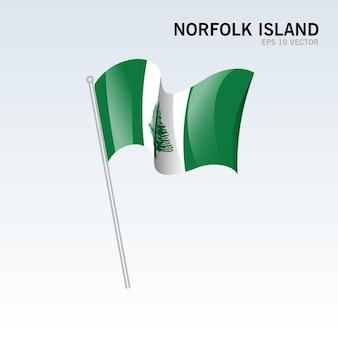 Norfolk island wehende flagge isoliert auf grau