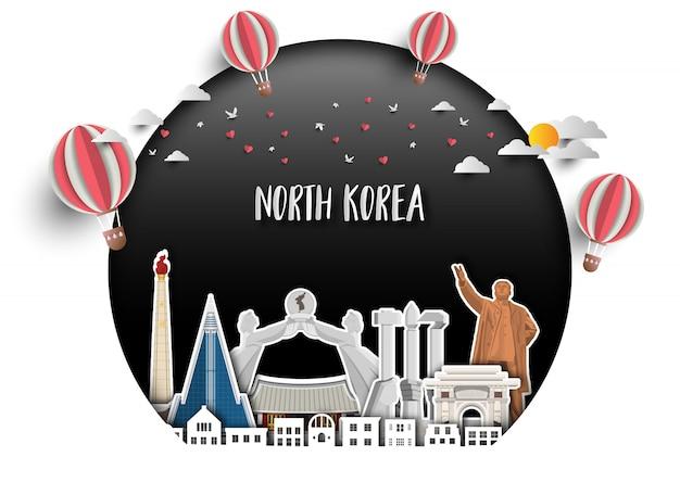 North landmark global travel und reise papierhintergrund.