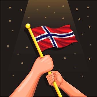 Norwegen flagge an hand feier für norwegen unabhängigkeitstag 7. juni abbildung vektor