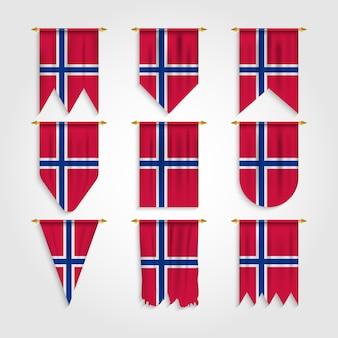 Norwegen flagge in verschiedenen formen