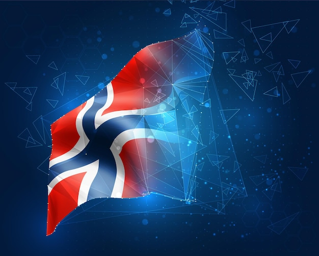 Norwegen, vektorflagge, virtuelles abstraktes 3d-objekt aus dreieckigen polygonen auf blauem hintergrund