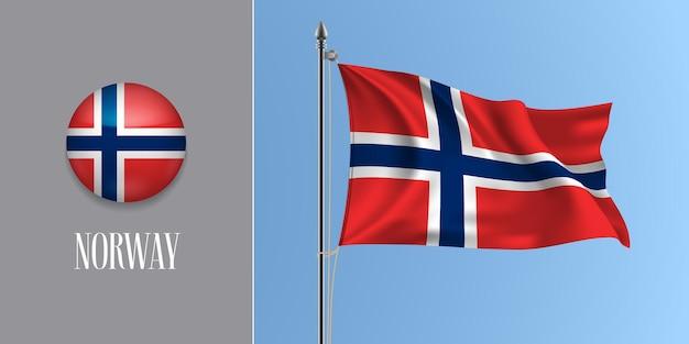 Norwegen winkende flagge auf fahnenmast und rundem symbol. realistische 3d des roten blauen kreuzes norwegische flagge und kreisknopf