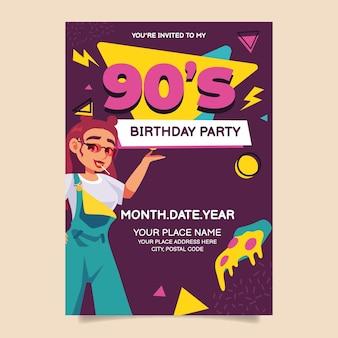Nostalgische 90er geburtstagseinladung im flachen design