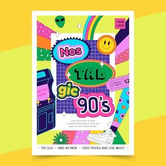 Nostalgische 90er jahre cover im flachen design