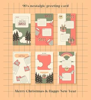 Nostalgische 90er jahre grußkarte im flachen design